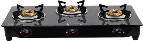 Lifelong Glass Top 3 Burner Gas Stove
